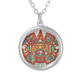 Aztec solhalsband för Maya Silverpläterat Halsband