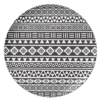 Aztec stilmönster - monokrom tallrik