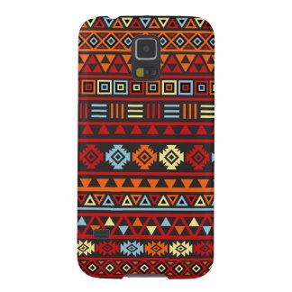 Aztec stilmönster - röd orangegultblått & Blk Galaxy S5 Fodral