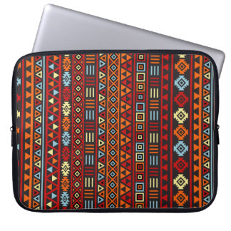 Aztec stilrepetition Ptn - gul rött för orange & s Laptop Sleeve