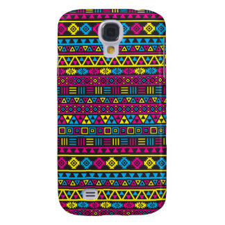 Aztec stilrepetitionmönster - CMY & svart Galaxy S4 Fodral