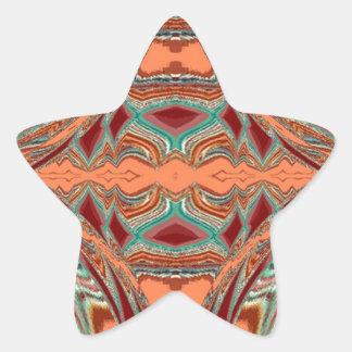 Aztec tyg. Stam- mönster Stjärnformat Klistermärke