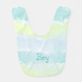 Azur för vattenfärgblåttgrönt pojke hakklapp