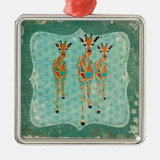 Azure & bärnstensfärgad giraffprydnad silverfärgad fyrkantigt julgransprydnad