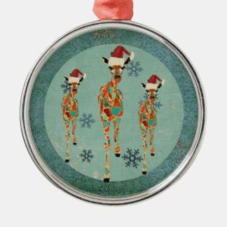 Azure & bärnstensfärgad giraffsnöflingorprydnad rund silverfärgad julgransprydnad