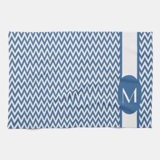 Azure elegant sparredesign med monogramen kökshandduk