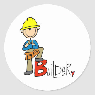 B är för byggmästare runt klistermärke
