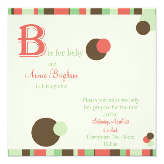 B är för flickababy showerinbjudan fyrkantigt 13,3 cm inbjudningskort
