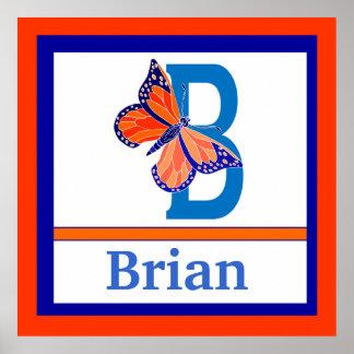 B är för för väggkonst för fjäril och för pojke kä poster