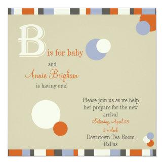 B är för pojkebaby showerinbjudan fyrkantigt 13,3 cm inbjudningskort