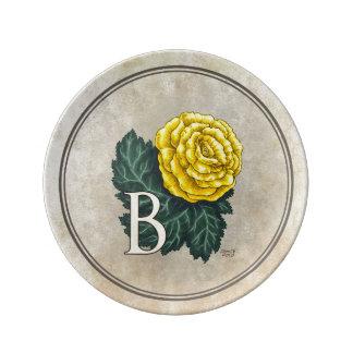 """""""B för Begonia"""" blommaMonogram Porslinstallrik"""