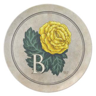 B för Monogram för Begoniasblommaalfabet Tallrik