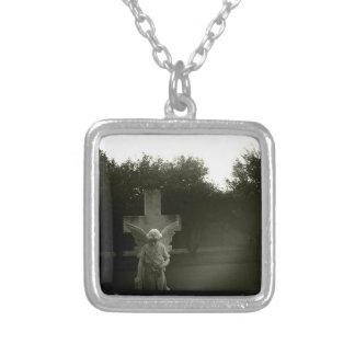 B&W-fotoet kvadrerar på Neclace Silverpläterat Halsband