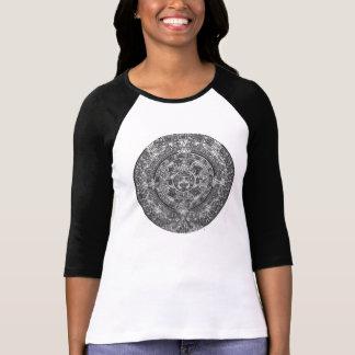 B&W-T-tröja med en Aztec kalenderteckning Tee Shirts