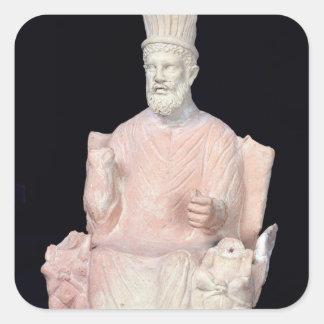 Baal Hammon som placeras på hans biskopsstol Fyrkantigt Klistermärke