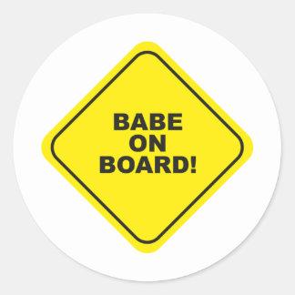 babe ombord runt klistermärke