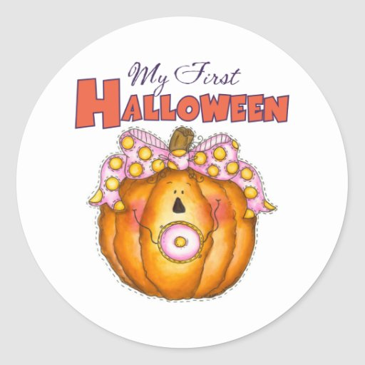 Baby 1st Halloween klistermärkear Rund Klistermärke