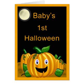 Baby 1st Halloween kort - rolig jack o lantern