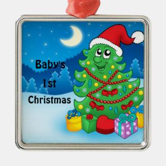 Baby 1st jul julgransprydnad metall