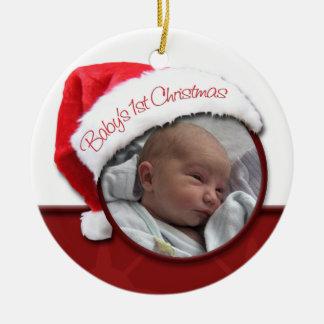Baby 1st jul - prydnad för Santa hattfoto Rund Julgransprydnad I Keramik
