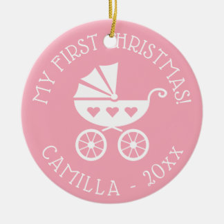 Baby 1st julgranprydnad med vagnen julgransprydnad keramik