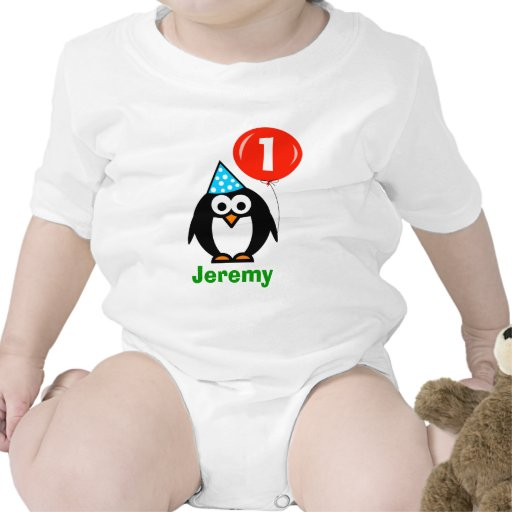 Baby 1st pingvin och ballong för födelsedagranka | krypdräkt