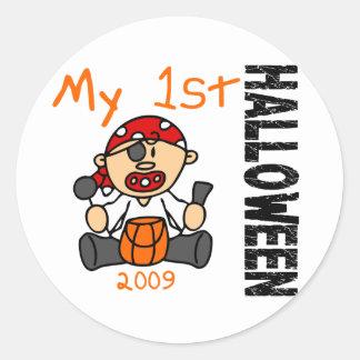 Baby 1st POJKE för Halloween 2009 pirat Runt Klistermärke