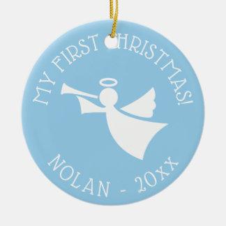 Baby 1st prydnad för julgranängel med namn julgransprydnad keramik