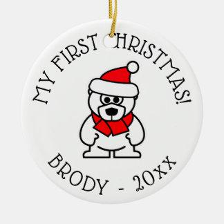 Baby 1st prydnad för träd för julpersonlig julgransprydnad keramik