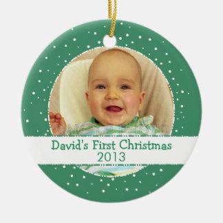 Baby 1st prydnadar för foto för julpersonlig julgransprydnad keramik