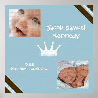 Baby blue affisch för konst för kungCollagevägg Poster