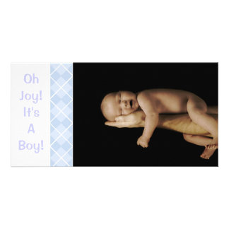 Baby blue Argyle - Oh glädje! Det är en pojke! Fotokort