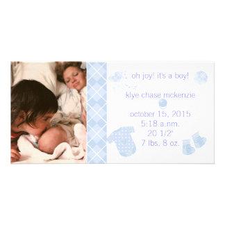 Baby blue Argyle - Oh glädje! Det är en pojke! Anpassade Foto Kort