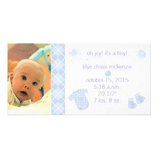 Baby blue Argyle - Oh glädje! Det är en pojke! Hälsningskort Med Foto