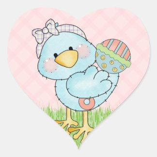Baby blue fågel hjärtformat klistermärke