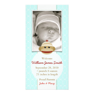 Baby blue meddelandeinbjudan för sock monkey fotokort