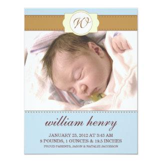 Baby blue Monogrammed nyfödd bebisfotomeddelanden Personliga Inbjudan