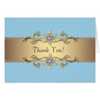Baby blue och guld- tackkort OBS kort