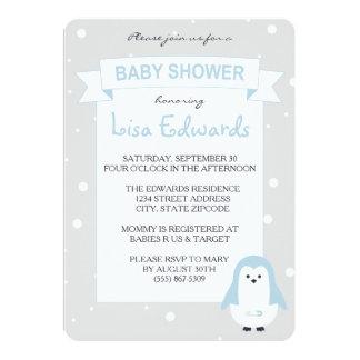 Baby blue pingvinbaby showerinbjudan 12,7 x 17,8 cm inbjudningskort