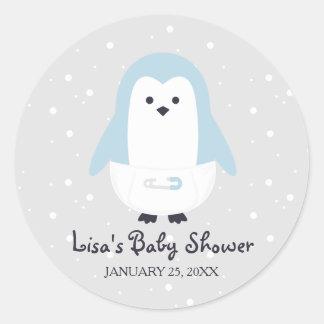 Baby blue pingvinbaby showerklistermärke runt klistermärke