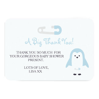 Baby blue pingvintack 8,9 x 12,7 cm inbjudningskort