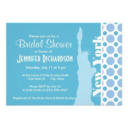 Baby blue polka dots; New York frihetsgudinnan Kort För Inbjudningar
