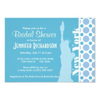 Baby blue polka dots; New York frihetsgudinnan 12,7 X 17,8 Cm Inbjudningskort