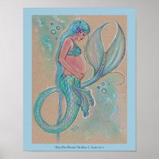 Baby blue sjöjungfruaffisch av Renee Lavoie Poster