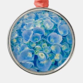 Baby blue vanlig hortensiablom julgransprydnad metall