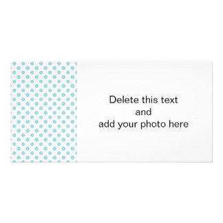 Baby blue vitpolka dotsmönster skräddarsydda fotokort