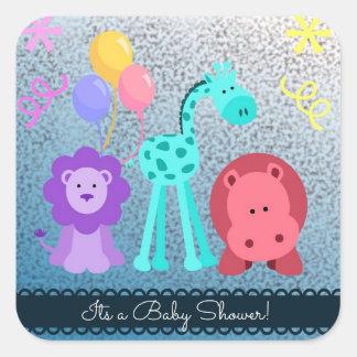 Baby djurbaby shower fyrkantigt klistermärke