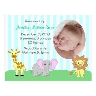 Baby djurtillkännagivande för födelsevykort (TBA) Vykort