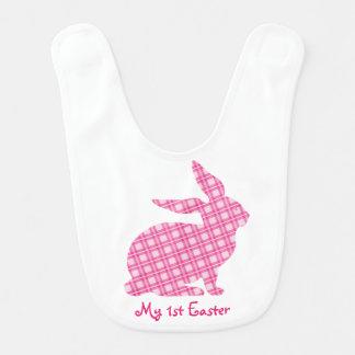 Baby för 1st kanin för kanin påskhaklapp rosa