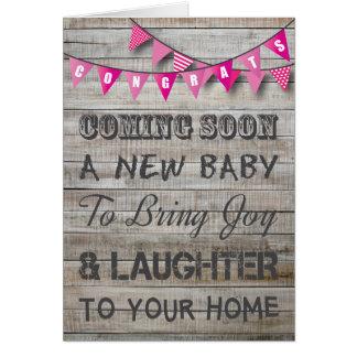 Baby för Bunting för lantlig gravidgrattis rosa Hälsningskort